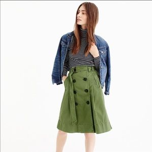 J. Crew Olive Green Belted Chino Trench Skirt 12
